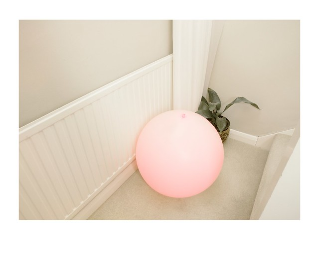 balloon near radiator and plant.