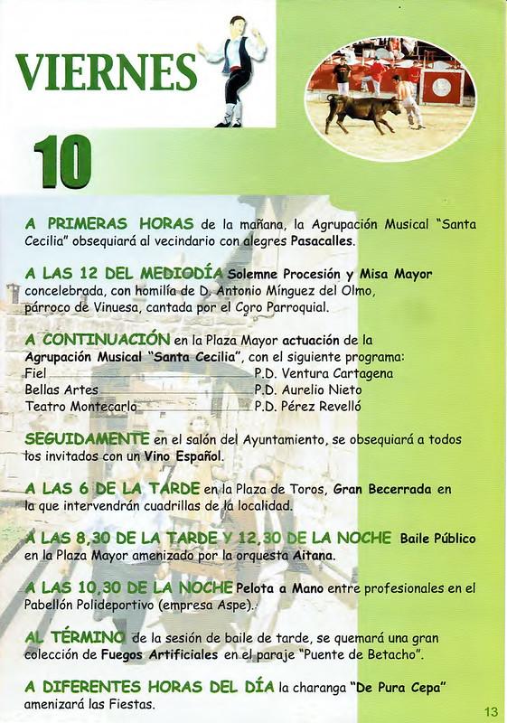 Programa Fiestas de San Lorenzo Año 2001