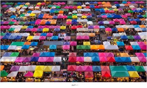 Train Market Ratchada, Bangkok, Thailand.