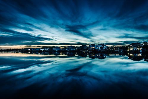 waterway sunset water reflection