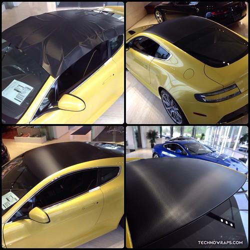 Aston Martin Vantage V12 carbon fiber roof wrap