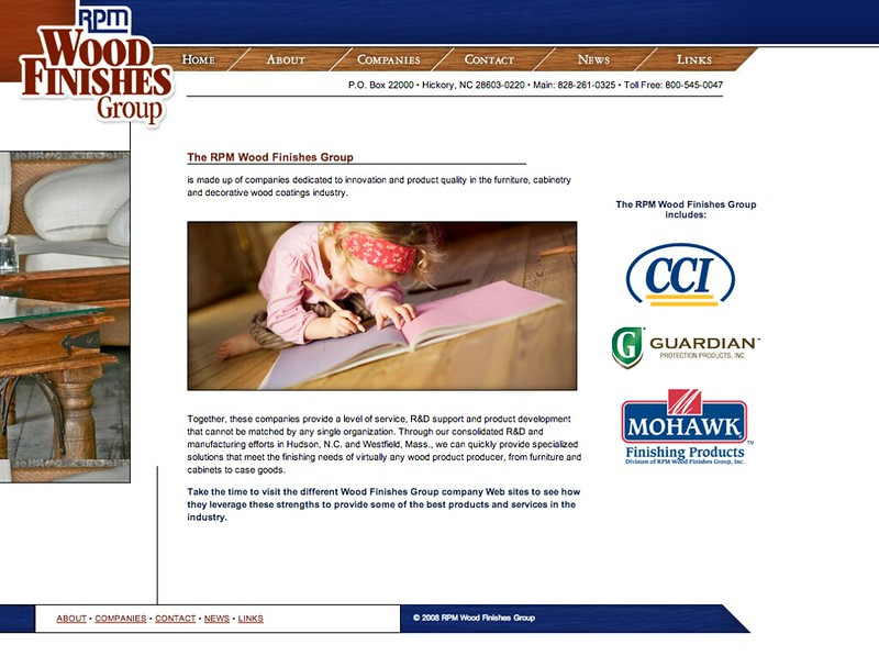 RPM Wood Finishes Group Website Design