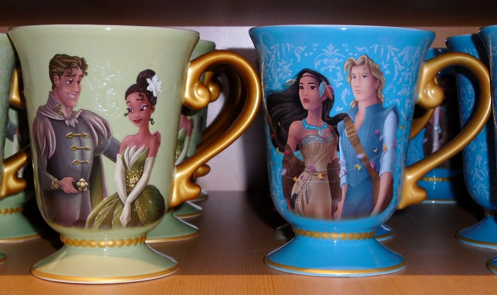 Disney Fairytale Designer Collection - Store Displays - Release Day 2014-09-02 - Tiana and Pocahontas Mugs