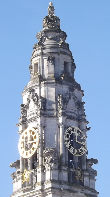 Clock Tower above City Hall Cardiff