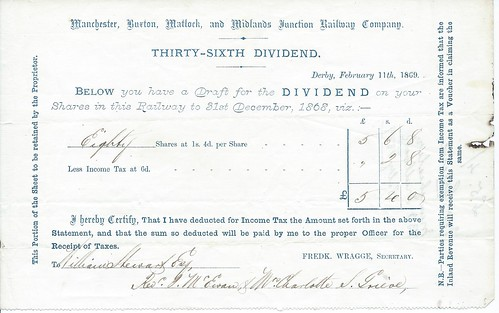 Manchester, Buxton, Matlock and Midlands Junction Railway dividend warrant 1863 | by ian.dinmore