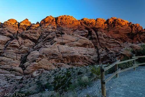 sunset red rock fence iron unitedstates lasvegas nevada canyon