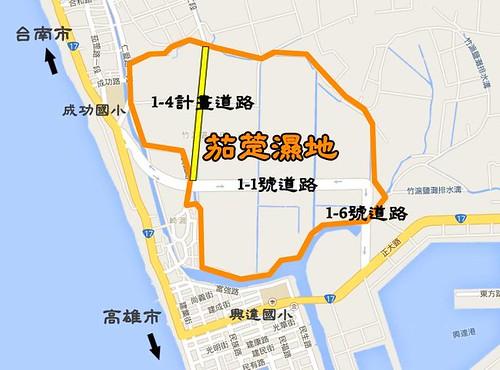 1-4道路若興建,將讓原本已被1-1道路切斷的茄萣濕地更加破碎化。圖片來源:守護茄定濕地青年聯盟   by TEIA - 台灣環境資訊協會