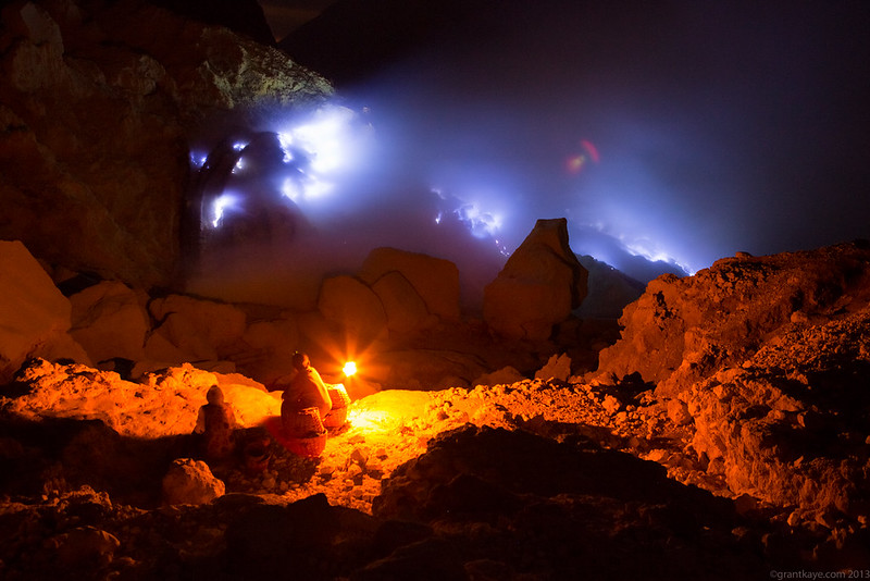 Sulfur Miners at Night, Kawah Ijen Volcano