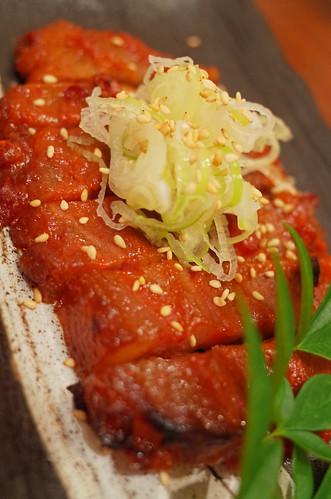 red hot spicy grilled pork   豚肩ロース唐味噌漬け   by HAMACHI!