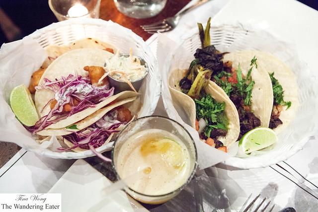 Trios of Tacos Capedos (fried fish tacos) and Taco el Jinete (skirt steak tacos)