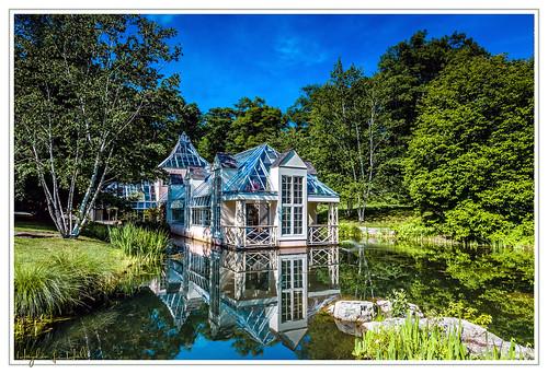 flowers ny newyork reflection nature garden landscape pond illusion ponds stonecrop glasshouses stonecropgardens