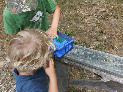 His first Geocache at Twin Lakes State Park | by vastateparksstaff