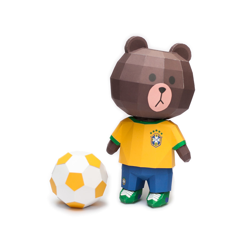 LINE Brown Bear in FIFA World Cup 2014 Brazil Uniform Papercraft Model Finished 007
