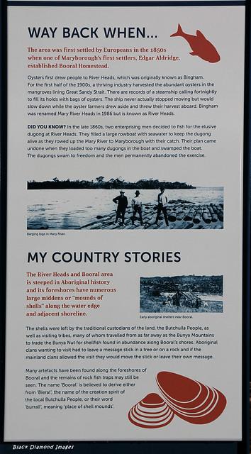 Butchulla Aboriginal & European History Interpretive Sign, River Heads Carpark, River Heads, Hervey Bay, SE Queensland