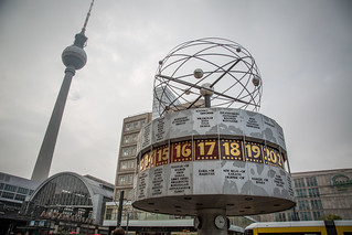 Weltzeituhr and Fernsehturm at Alexanderplatz   by Tony Webster
