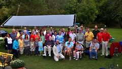 Group photo of club members and families. We had a great time at the social hosted by Ed and Kay Smallwood.
