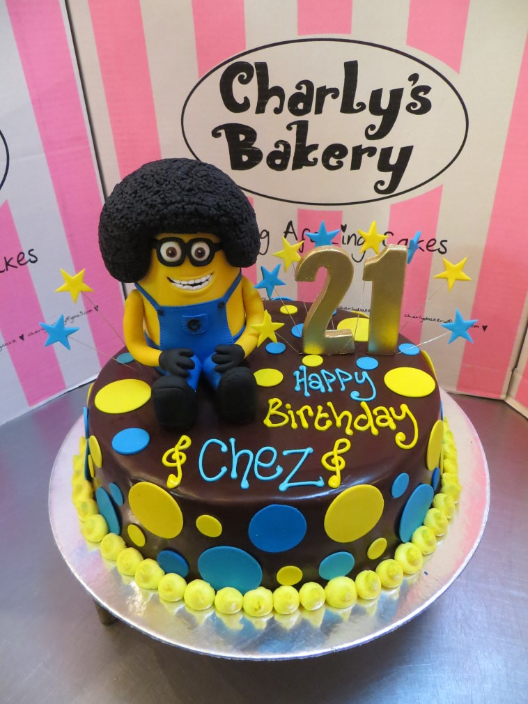 Wondrous Minion With An Afro Cake Topper On Ganache Icing With Fond Flickr Personalised Birthday Cards Cominlily Jamesorg