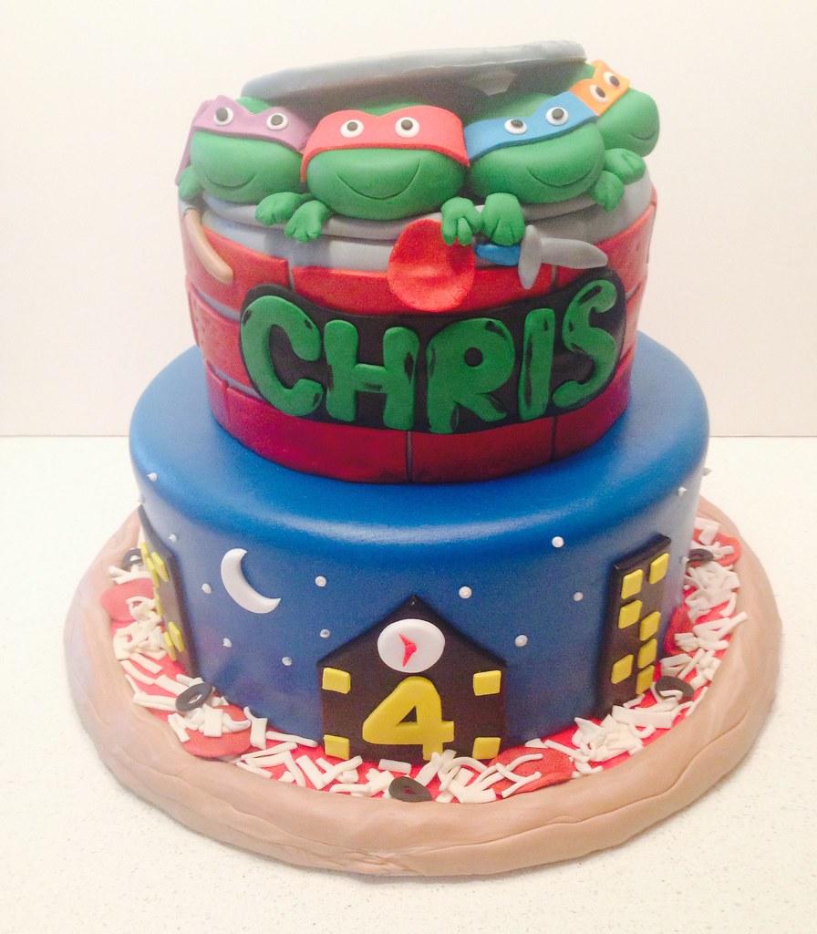 Marvelous Teenage Mutant Ninja Turtles Birthday Cake A Photo On Flickriver Funny Birthday Cards Online Elaedamsfinfo