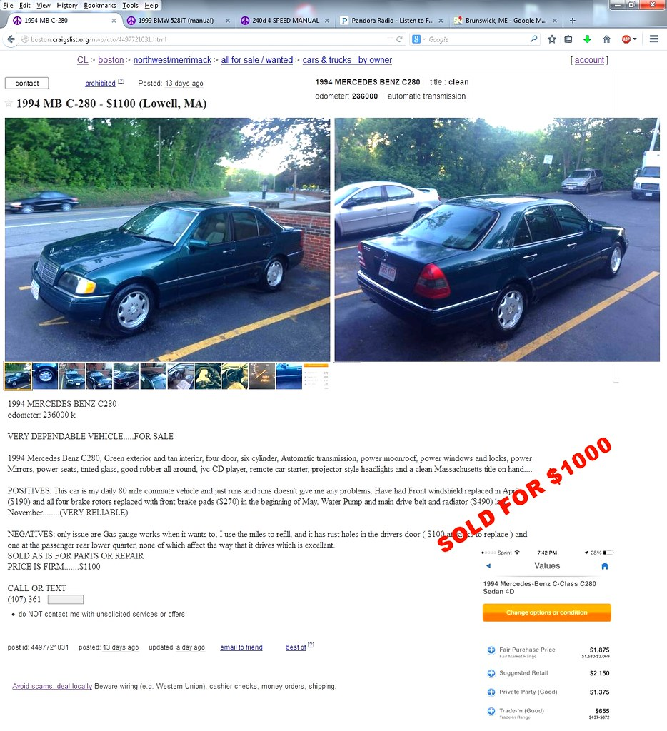 MB C280 on Craigslist | Turns out the BMW was sold, it was t