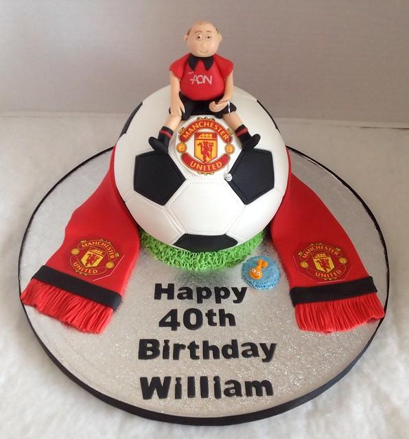 Surprising Man U Football 40Th Birthday Cake Liz Flickr Funny Birthday Cards Online Elaedamsfinfo
