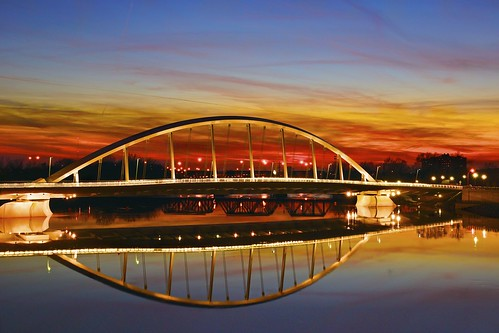 longexposure bridge light columbus sunset ohio reflection night river unitedstates 5photosaday sonyslt