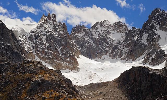 Rocky snow peaks near the pass of Cho La (alt 4864m), Tibet 2013