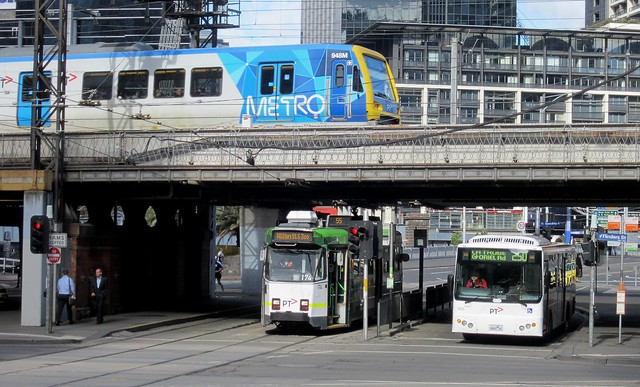 PTV-liveried train, tram and bus