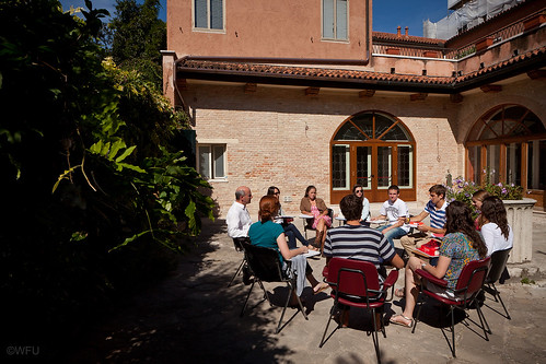 Class is held outdoors at Casa Artom in Venice, Italy
