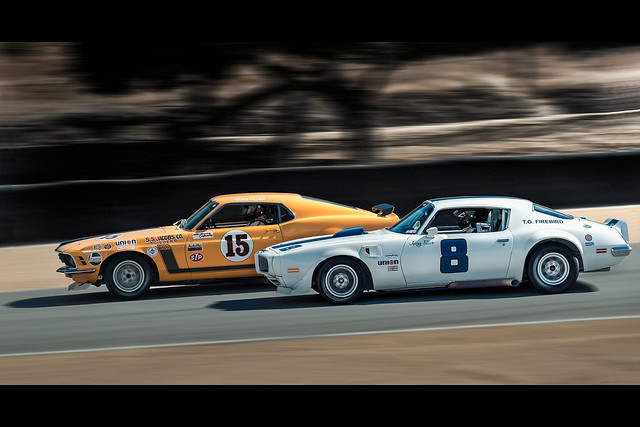 Monterey Historics Trans Am Boss 302 vs Firebird