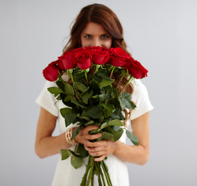 woman with giant roses