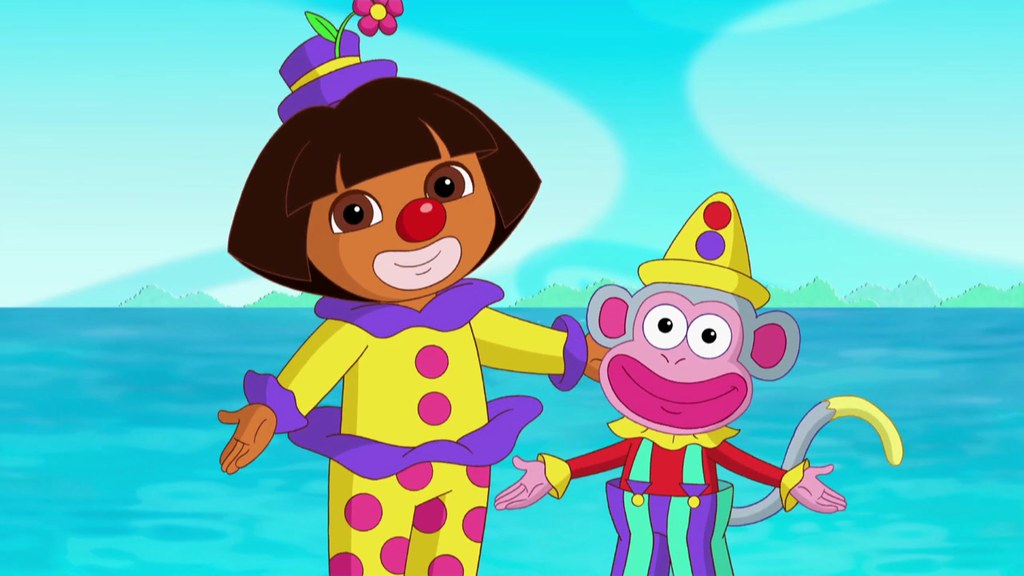 Silly clowns costumes with Dora and Boots in Dora in Wonde