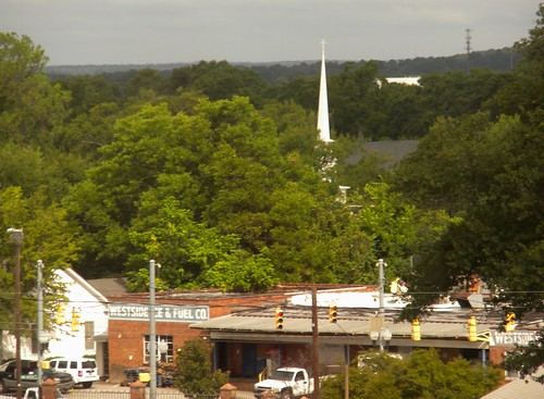 city urban scene window steeple church ice fuel propane columbia sc carolina twonotchroad trees summer foliage traffic work business forest cold frozen sommer view air sky vision eglise westside usc