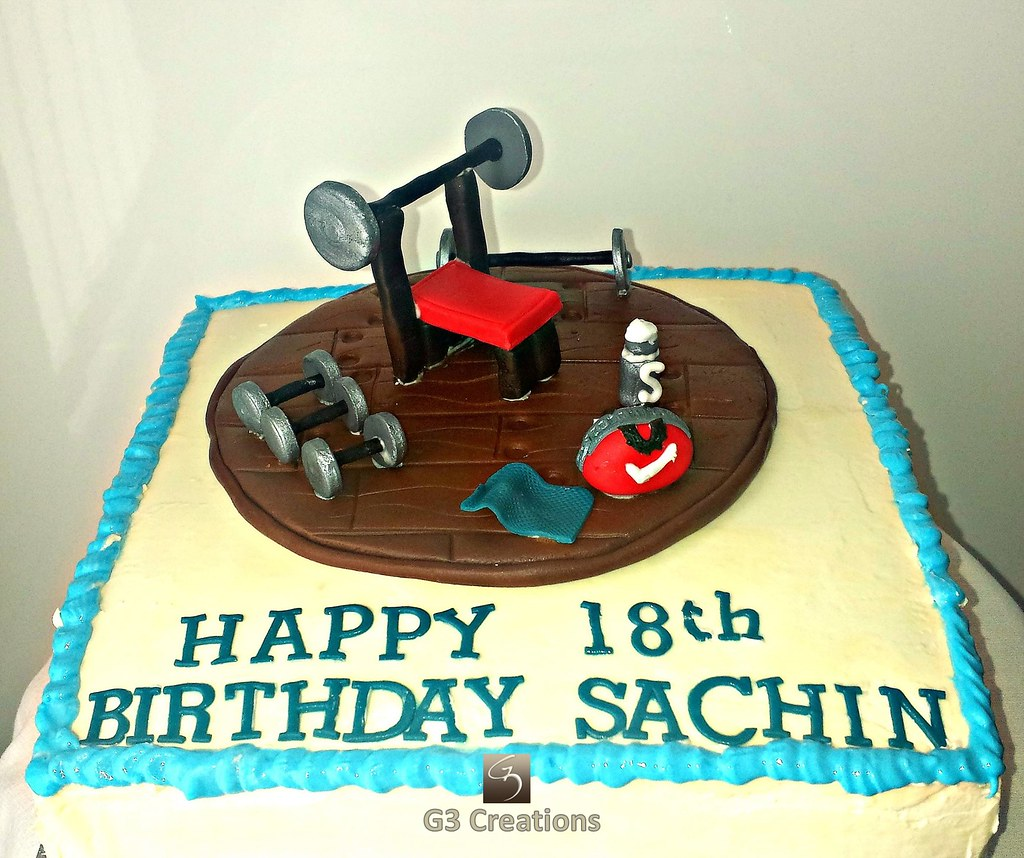Admirable Sports Gym Birthday Cake 18Th Birthday Cake Made For A You Flickr Funny Birthday Cards Online Bapapcheapnameinfo