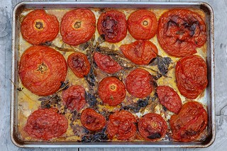 Slow roasted heirloom tomatoes with garlic and herbs by Eve Fox, the Garden of Eating, copyright 2014 | by Eve Fox