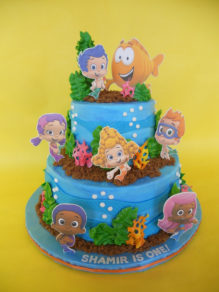 Awesome Bubble Guppies Birthday Cake Amy Stella Flickr Birthday Cards Printable Trancafe Filternl