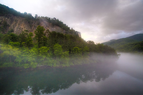 road park morning summer mist mountain reflection green rock fog sunrise river nationalpark day cloudy country foggy destination appalachian magical hdr daybreak greatsmokeys