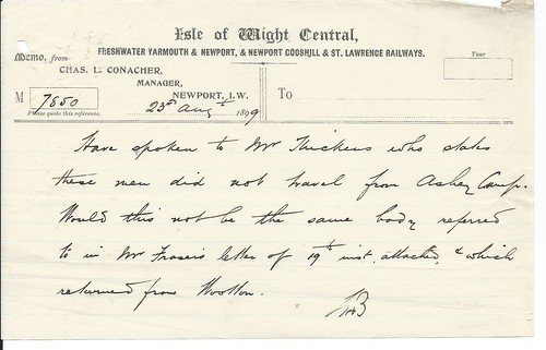Isle of Wight Central Memo soon after they had absorbed the othe small Island Railways 1899 | by ian.dinmore