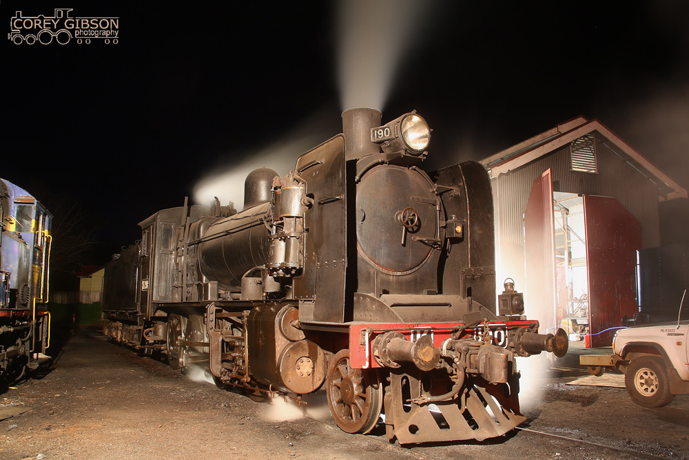 K190 sits in Maldon yard been prepared for the night trip to Castlemaine by Corey Gibson