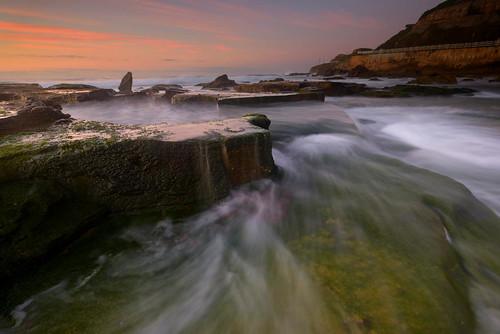 sunrise newcastle moss rocks au australia newsouthwales newcastlebeach waterflow paulhollins nikond610