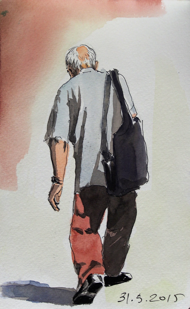 Oldman Carrying A Heavy Bag Watercolor And Ink Fikret Ercan Flickr