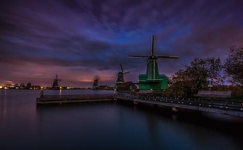 zaanseschans seascape sunset waterfront windmill longexposure