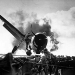 Ensign Byron Johnson's F6F Hellcat crash landed on Enterprise, 10 November 1943.