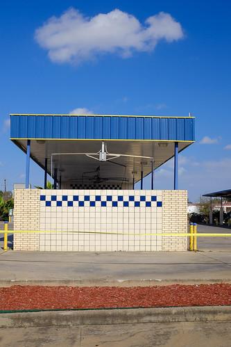 blue brick carwash cloud houston landscapeurban sky texas x100 checkerboard outdoors outside