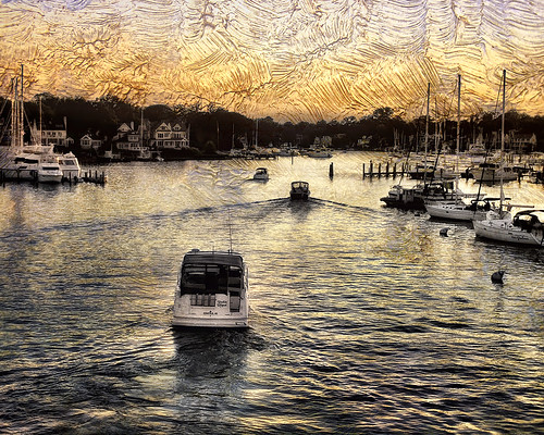 sunset texture river boats wake maryland annapolis chesapeake waterscape spacreek textureeffects digitaloverlay zunikoff