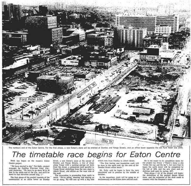 gm 1974-06-21 timetable race begins for eaton centre