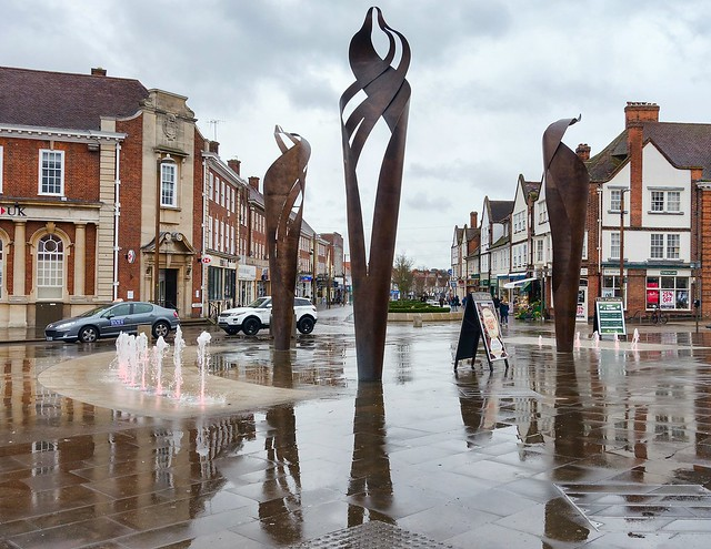 Town Sculptures and Fountains, Colonnade Square, Letchworth Garden City