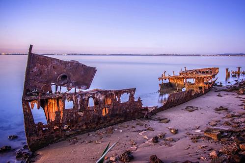 longexposure sea sky abandoned boats lowlight rust redcliffe sunsetsandsunrisesgold slowshutteronwater
