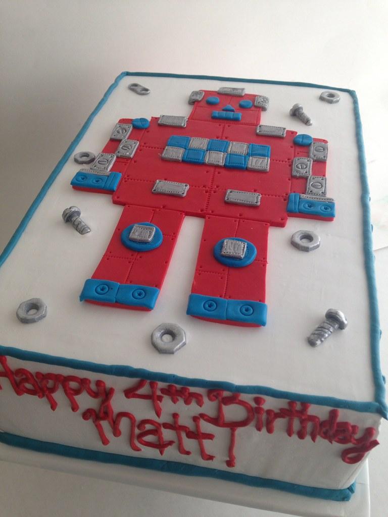 Pleasing Robot Birthday Cake 3599 1 4 Sheet Buttercream Cake With Flickr Personalised Birthday Cards Epsylily Jamesorg