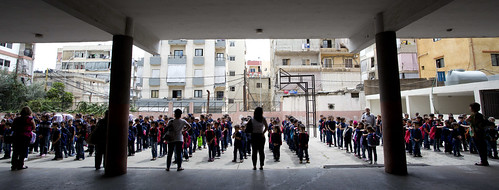 Syrian refugee students line up for classes at Bourjhammoud Public School #2 | by World Bank Photo Collection