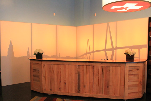 Skyline - Cooper River Bridge, Rustic Cypress Bars with Bar Corners